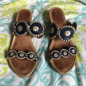 Sz 9 Jack Rogers, Wedge, Navy and Gold